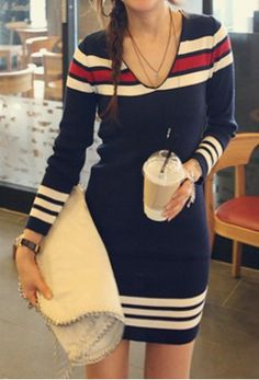 Long Sleeve Striped Splicing Sweater Dress