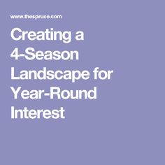 Creating a 4-Season Landscape for Year-Round Interest