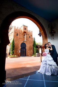 Ultra Romantic Walt Disney World Wedding Portrait Session At Epcot