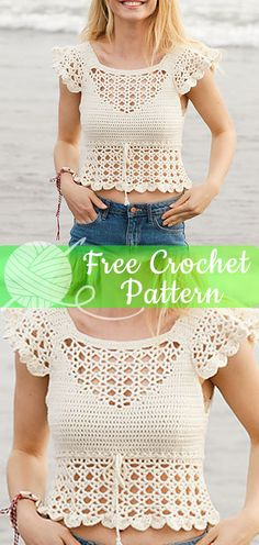 Crocheted top with lace pattern and flounce. Size: S – XXXL Piece is crocheted in DROPS Cotton Merino. I hope you have enjoyed this beautiful crochet, the free pattern is HERE so you can make a … - Crochet Ideas Débardeurs Au Crochet, Crochet Tunic Pattern, Mode Crochet, Crochet Shirt, Crochet Woman, Thread Crochet, Diy Crochet Tank Top, Crochet Sweaters, Pattern Dress