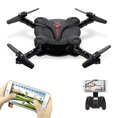 Goolsky FQ17W Mini RC Quadcopter Foldable Drone with WiFi FPV Camera Live Video Altitude Hold3D FlipsGravity Sensor Phone Control or Remote Controller *** Visit the image link more details-affiliate link. #Drone