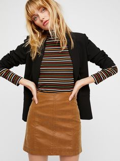 Modern Femme Vegan Leather Mini | Vegan leather mini skirt featuring exposed seam detailing.  * Back zip closure * Lined