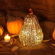 Romingo Mercury Glass Pumpkin Light with Timer for Halloween Pumpkin Decorations Fall Decor,Gold, inches Diy Party Decorations, Thanksgiving Decorations, Led Lantern, Lanterns, Pumpkin Lights, Glass Pumpkins, Led Candles, Halloween Pumpkins, Halloween House