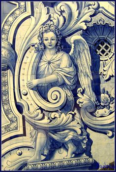 Angelic tile/azulejos mural in Portugal Tile Art, Mosaic Tiles, Portugal, Image Digital, Antique Tiles, Portuguese Tiles, Blue Tiles, Delft, Bunt