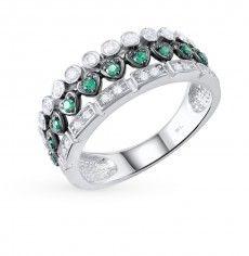Кольцо, вставка:  фианит зеленый; фианит; Серебро 925 пробы. 23944