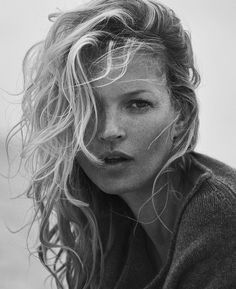 Kate Moss wears her hair in beachy waves for Naked Cashmere advertising 2016 campaign