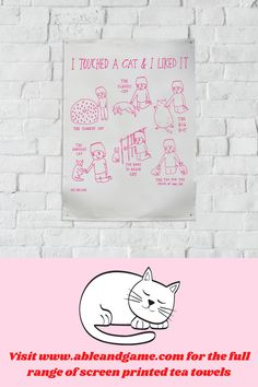Screenprinted linen tea towel. Special Gifts For Him, Cat Gifts, Cute Cards, Tea Towels, Like Me, Screen Printing, Cat Lovers, Etsy Seller, Touch