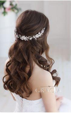 DORCIA White Silver Wedding Bridal Flower Crown #topgraciawedding #bridalhairaccessories #weddingheadband