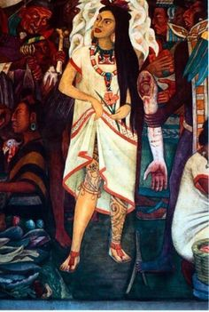 La Malinche (detail of mural) by Diego Rivera ~ She was Cortes' lover and translator and, as such, arguably facilitated the conquest of Mexico. Osvaldo, our contributor from Mexico, introduces us to expressions referencing her treason. Diego Rivera Art, Diego Rivera Frida Kahlo, Arte Latina, Frida And Diego, Mexico Art, Maya, Mexican Artists, Chicano Art, Arte Popular