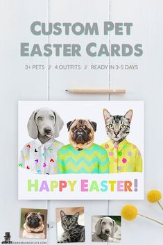 Items similar to Custom Pet Easter Cards, Easter card of 3 or more pets, Custom Pet Portrait, Personalized Easter Cards, funny pet portrait on Etsy Colourful Outfits, Colorful Clothes, Funny Cats, Funny Animals, Pet 1, Personalised Christmas Cards, Grey Dog, Simple Prints, Printable Cards