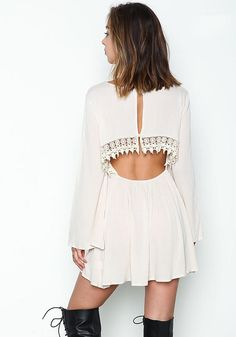 Sand Crochet Crepe Bell Sleeves Dress - Dresses - Clothes - Sale