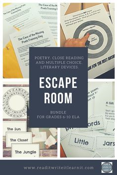 The best of the best ELA escape room bundle for grades ELA includes a close reading and multiple choice escape room, a poetry escape room, and a literary devices escape room. Get kids on their feet and actively learning poetic elements, literary devi Escape The Classroom, Ela Classroom, Middle School Classroom, Future Classroom, Classroom Decor, Reading Strategies, Reading Activities, Teaching Reading, Guided Reading