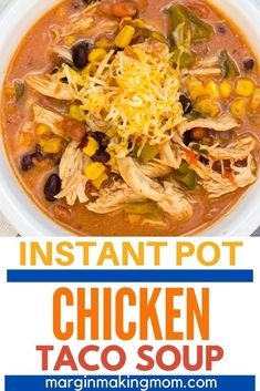 This Instant Pot chicken taco soup is a super easy dump and start meal that even a beginner can make! It's creamy, flavorful, and oh so good! It's made with Ranch and Taco seasonings, and can also be made with frozen chicken!