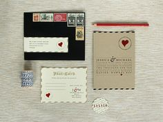 If I could marry again to the same man, I would definitely use these love letter inspired wedding invitations. Love it.