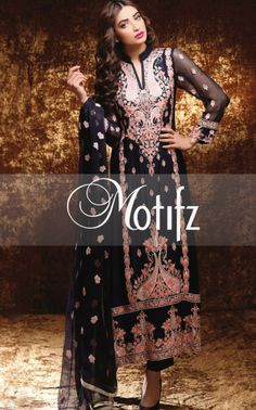 Buy Black Embroidered Crinkle Chiffon Salwar Kameez by Motifz Clothes Winter Collection