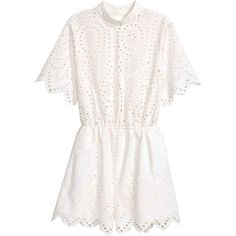 Broderie anglaise playsuit (158520 PYG) ❤ liked on Polyvore featuring jumpsuits, rompers, white romper, white rompers and playsuit romper