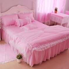 DIAIDI Home Textile,Princess Lace Ruffle Duvet Cover Bedding Set,Elegant Pink Purple Bedding,Twin/Full/Queen/King,3/4Pcs Bedroom Sets (Pink, 4ft bed) DIAIDI,http://www.amazon.com/dp/B00D85GW9C/ref=cm_sw_r_pi_dp_646Wsb1C92Z260VR