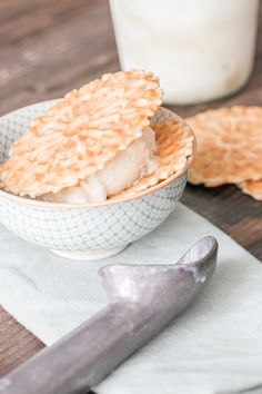 Olive Oil Ice Cream with Pizzelle Waffle Cookies