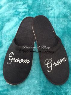 Groom slippers , black slippers , mens slippers , best man slippers , spa slippers , honeymoon slippers , hotel slippers , personalised by personaliseddiamante on Etsy