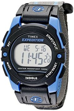 Timex Unisex T49660 Expedition Mid-Size Digital CAT Gray/Blue Stripe Fast Wrap Velcro Strap Watch: Timex: Watches