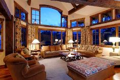 This big living room is great. The home owner or designer used lots of elements we have talked about in class. I really like the long heavy curtains with the big windows. The large area rug compliments the big space. The best element of this space is defiantly the large, comfy furniture.