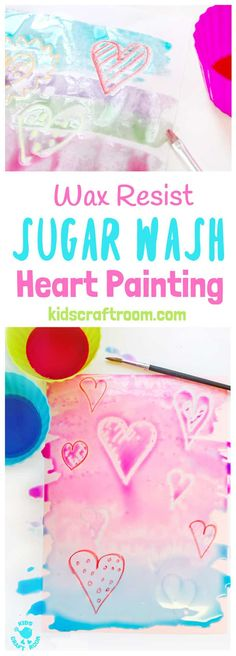 GLOSSY SUGAR WASH PAINTING is a special and unusual wax resist painting activity for kids. It\'s colourful, glossy and finger licking good fun! Kids will love it! #valentine #valentinesday #valentinescraft #valentinecraft #valentinescrafts #valentinecrafts #valentinesdayforkids #heart #love #kidsart #processart #painting #paintingideas #kidspainting #paintingforkids #heartcrafts #kidscrafts #craftsforkids #kidsactivities #activitiesforkids #preschool #ECE via @KidsCraftRoom