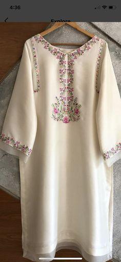Fancy Dress Design, Stylish Dress Designs, Designs For Dresses, Simple Pakistani Dresses, Pakistani Dress Design, Beautiful Casual Dresses, Stylish Dresses, Kurti Embroidery Design, Embroidery Fashion