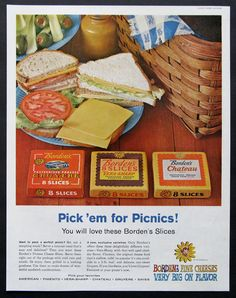 1960 Borden's Cheese Ad - 1960s Picnic Lunch Basket - Gruyere Vera Sharp American Chateau Sliced Cheese Sandwich Plate - Vintage Food Ads