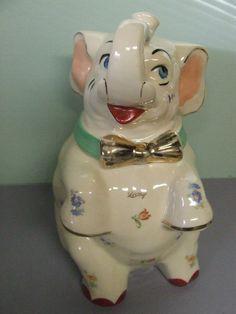 Vintage 1950 39 s shawnee two tone pink elephant cookie jar usa shawnee how i love ya - Vintage elephant cookie jar ...