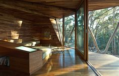 inside of cabin built by trees it displaced. Beautiful
