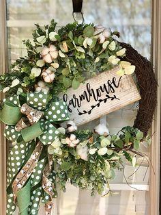 Farmhouse Wreath, Spring Wreaths for front door, Easter Wreath, Spring Wreath, Everyday Wreath, Cotton Wreath, Grapevine Wreath, Moss Wreath
