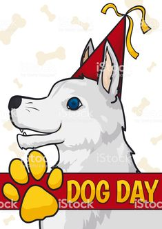Happy White Dog with Party Hat Celebrating its Day White Dogs, Free Vector Art, Image Now, Party Hats, Dog Days, Pikachu, Label, Elegant, Celebrities