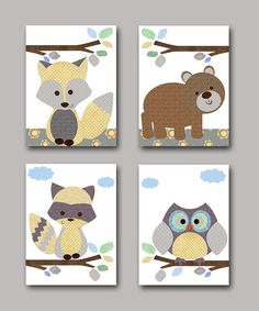 Owl Nursery Fox Nursery Bear nursery Baby Boy Nursery decor Children Art Print Baby Nursery Print set of 4 11x14 raccoon gray brown yellow
