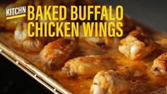 Here's how to make a batch of Buffalo chicken wings in the oven - you only need four ingredients. Wings In The Oven, Glass Pan, Chicken Recipes, Chicken Meals, Buffalo Wings, Oven Cooking, Buffalo Chicken, Oven Baked