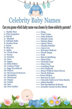 Celebrity Baby Name,Guessing Game,Baby Shower Ideas,Instant  Download,Printable,Boy,Baby Shower Games,Baby Shower,Blue,Baby Shower Game, Baby