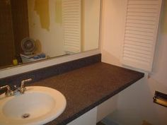 How to Paint Your Bathroom Counter with Krylon Make it Stone Textured Paint (granite-like finish) cute-craftsy-diy