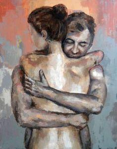"""Saatchi Art Artist Nadia Rapti; Painting, """"The Hug"""" #art"""