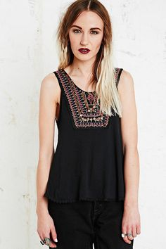 Staring at Stars Embellished Trim Crinkle Tank - Urban Outfitters
