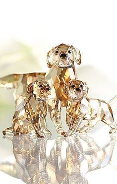 Swarovski Crystal Dog Family
