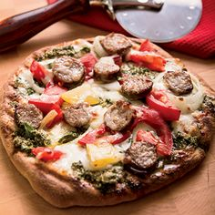 Grilled Sausage Pesto Pizza