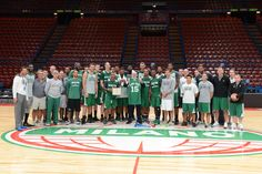 The 2015-16 Boston Celtics pose for a group photo after practice at center court in Milan, Italy. #NBAGlobalGames