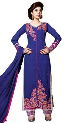 Elegance and fire is the order of the day when choosing this long salwar suit, georgette fabric in blue color. The resham, stones and lace work appears to be chic and aspiration for any party. #palazzodress #palazzosuitdesigns #latestfashiondresses