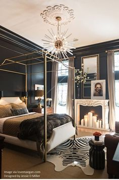 Get inspired by Glam Bedroom Design photo by Jessie D. Wayfair lets you find the designer products in the photo and get ideas from thousands of other Glam Bedroom Design photos. Glam Bedroom, Home Decor Bedroom, Bedroom Ideas, Bedroom Black, Bedroom Makeovers, Black Bedrooms, Gothic Bedroom, Stylish Bedroom, Bedroom Wall