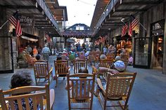 Visitors Grab a Rocking Chair to Listen to Free Music in Gatlinburg, Tennessee