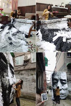 """Red – Zhang Yimou Socks Portrait    Hong Yi ( Red ) is Back with a new Project """" Zhang Yimou Portrait made of socks, bamboo sticks and pins """""""
