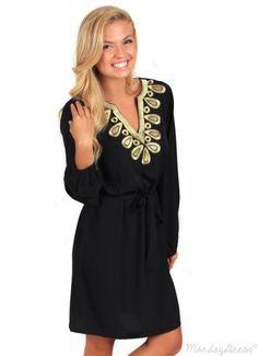 The Sweet Escape Black Tie Waist Dress