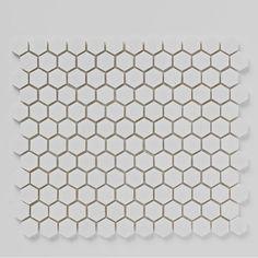 Mosaics Luxe White Hexagon Stone Mosaic 305mm x 265mm Multi-Use Tile - BCT38559