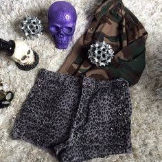 Studded cheetah shorts ✖️ love these shorts , never wore them , I threw them in the wash , some studs are loose✖️                             all clothing is either NWT or has been washed + sanitized, then kept in a PET FREE and SMOKE FREE environment .  too expensive , gonna break da bank ? Then add me to a  b u n d l e  or use the offer button     n o  l o w  b a l l i n g  REASONABLE offers accepted . Do NOT use offer button for requests like 40% below asking price .      N O T R A D E S…