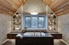 salle de bain avec décor intéressante décoration d'intérieur cabane chalet luxe inspiration chambre d'hôtel