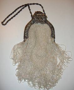 Stunning Vintage Beaded Art Deco White Wedding Bag, circa 1920s